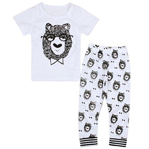 (シャンディニー) Chandeny ベビー服 幼児 上下セット 半袖 Tシャツ パンツ イラスト アニマル プリント 16115 90cm