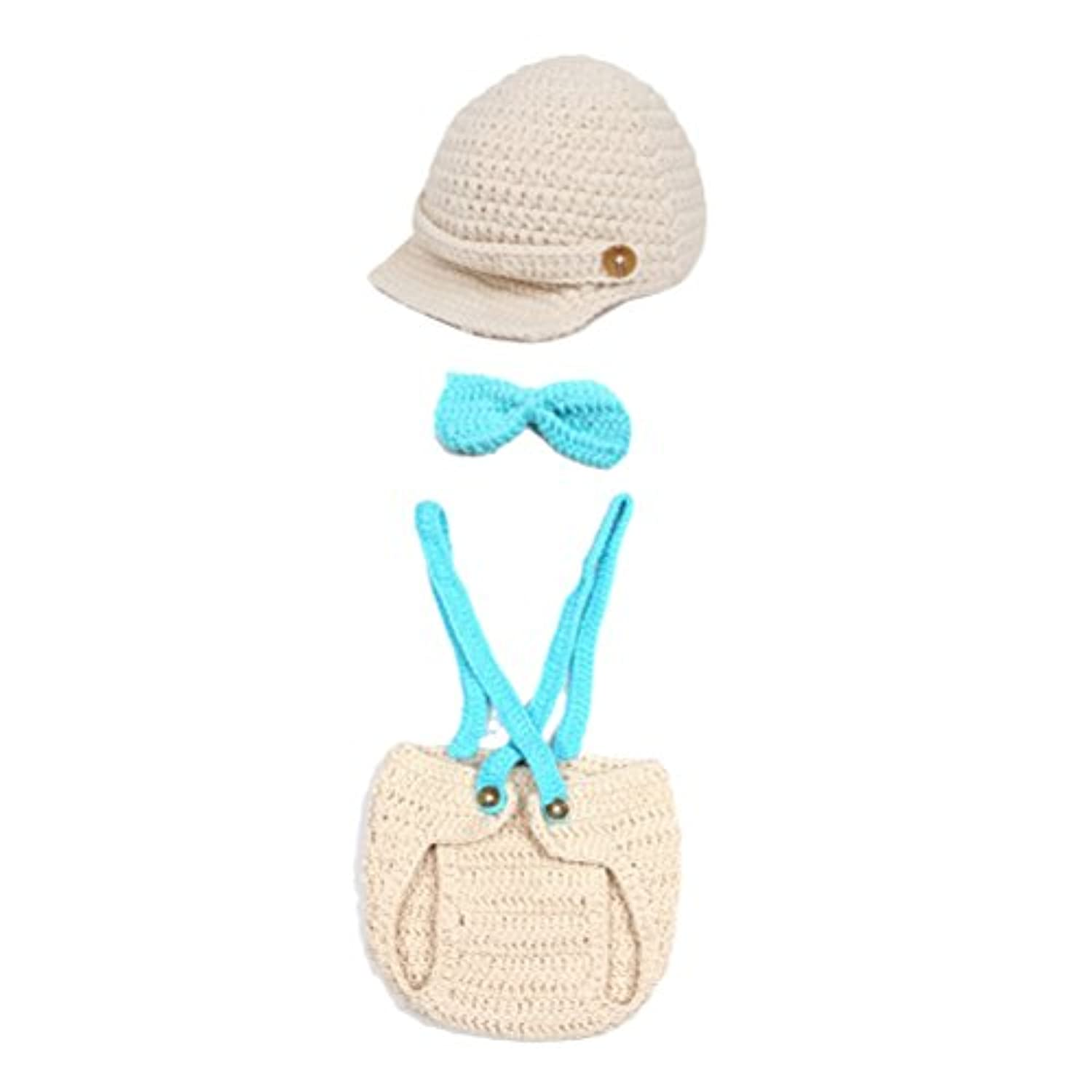 Zhhlaixing ベビー服 Newborn Boys Girls Handmade Crochet Costume Photography Prop Knitted Cap&Shorts Set With Bow tie