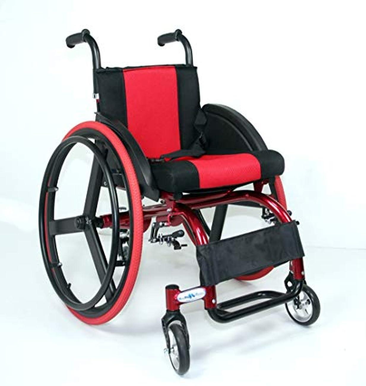盆地そっと殺しますアルミ合金のクイックリリースの後部車輪の衝撃吸収材のトロリーが付いている余暇の車椅子ライトポータブル、24インチの後部車輪は1つのボタンで取除くことができます
