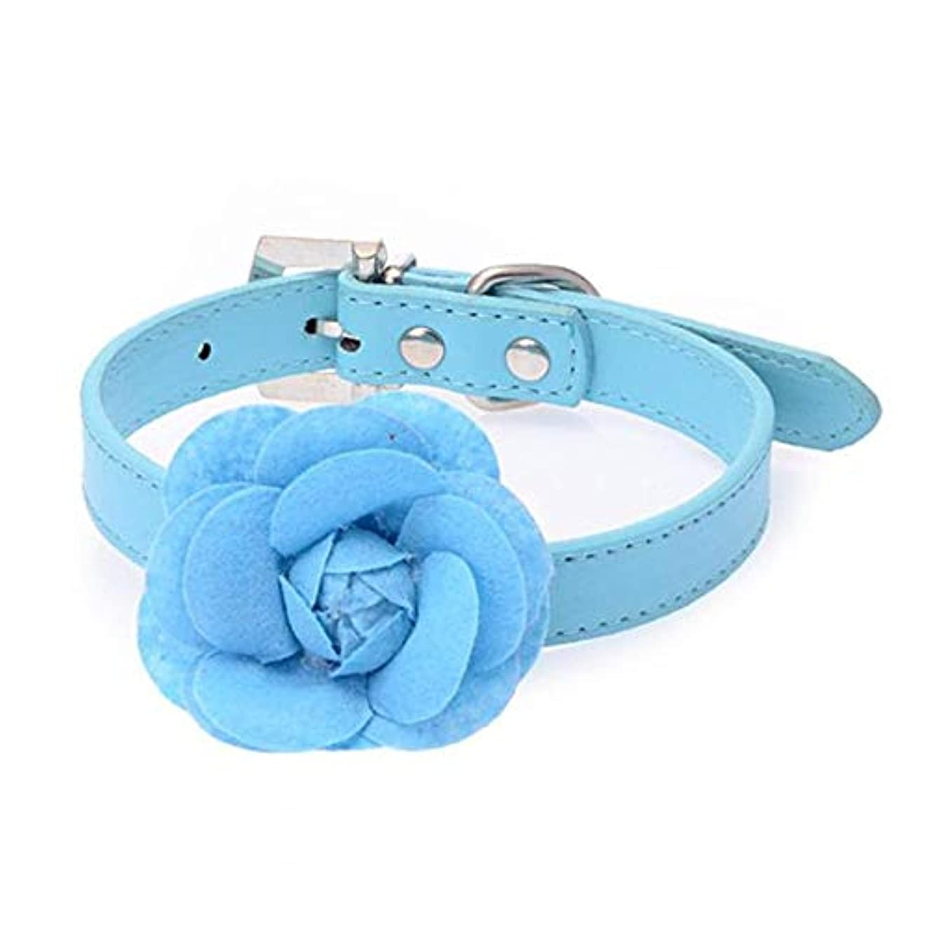 そよ風うなずくゲストXUTXCKA ペット犬PUレザーローズフラワー小さなペット犬の首輪ネックレス結婚式