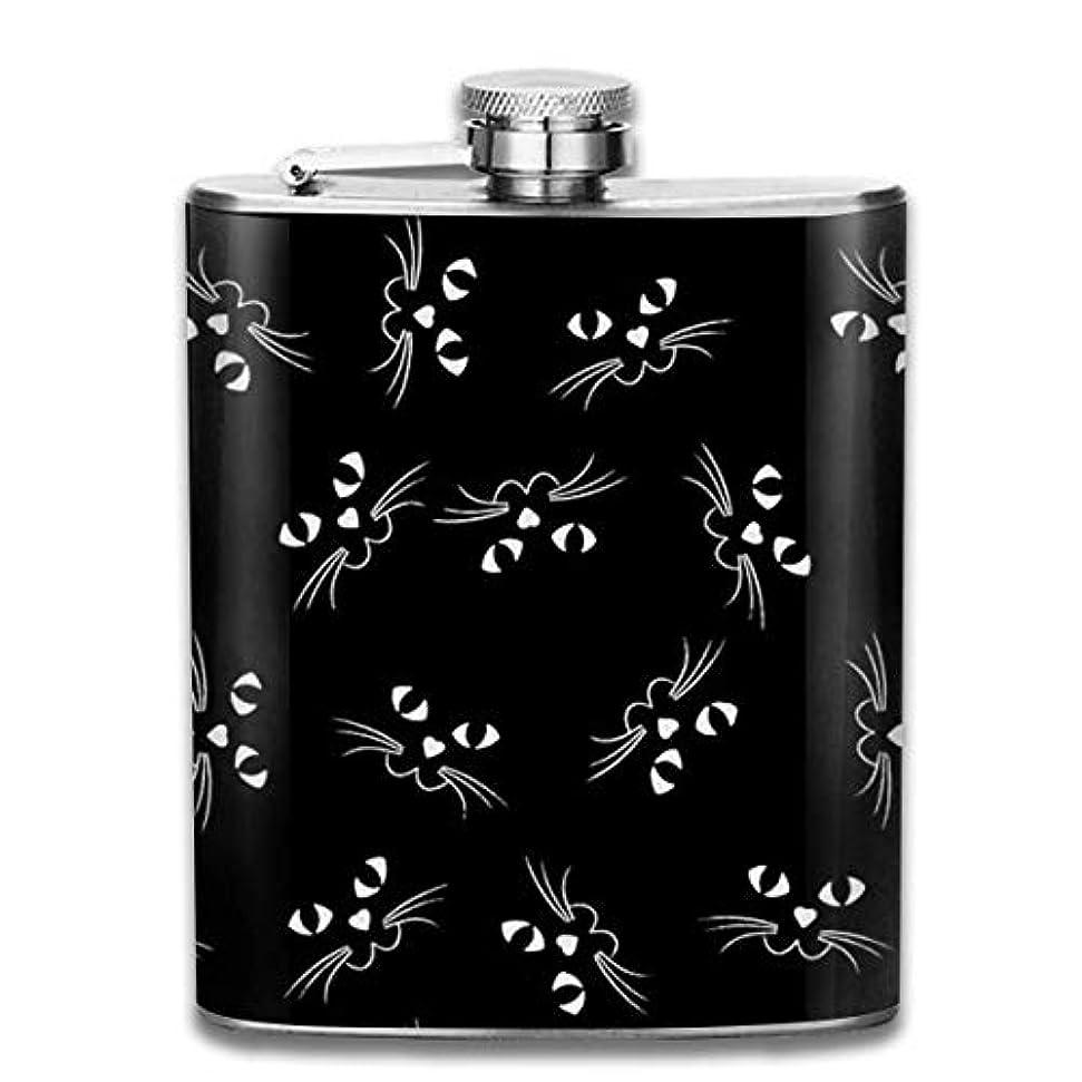 ジョージハンブリー封建させる黒猫フラスコ スキットル ヒップフラスコ 7オンス 206ml 高品質ステンレス製 ウイスキー アルコール 清酒 携帯 ボトル