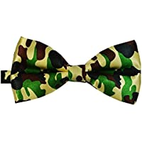 Bullidea 1pc Mens Pure Plain Bowtie Camouflage Pattern Pre-Tied Bow Tie for Wedding Party Novelty Clothing Polyester