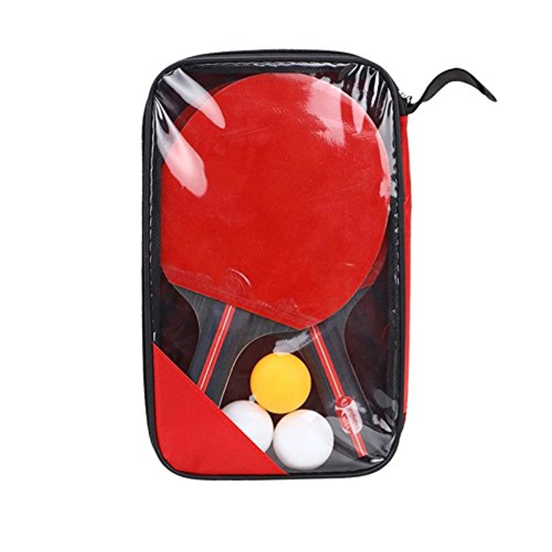 Sue供給テーブルテニスバットhand-shakeラケット初心者のトレーニングピンポンバットテーブルテニスラケットセット(2 Rackets + 3ボール)プロフェッショナルPing Pongパドル