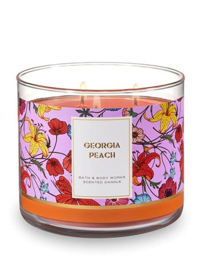 毎月垂直抗議Bath and Body Works 3 Wick Scented Candle Georgia Peach 14.5オンス