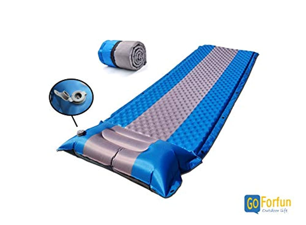 貫通まどろみのある放射能Goforfun キャンピングマット,アウトドア寝袋家庭用エアーベッド,自動膨張マット3cm,アップデートバージョン枕,一体式 1人用