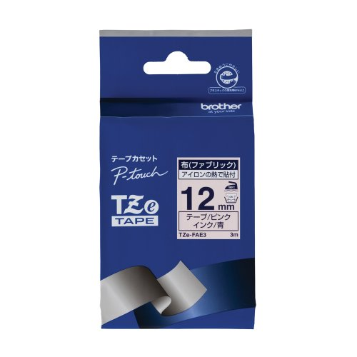 ブラザー工業 TZeテープ 布テープ(ピンク地/青字) 12mm TZe-FAE3