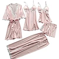 Ausexyy Women Nightwear 5Pcs Suit Satin Lace Lingerie Plus Size Strappy Halter Dress Pants Robe Babydoll Sleepwear