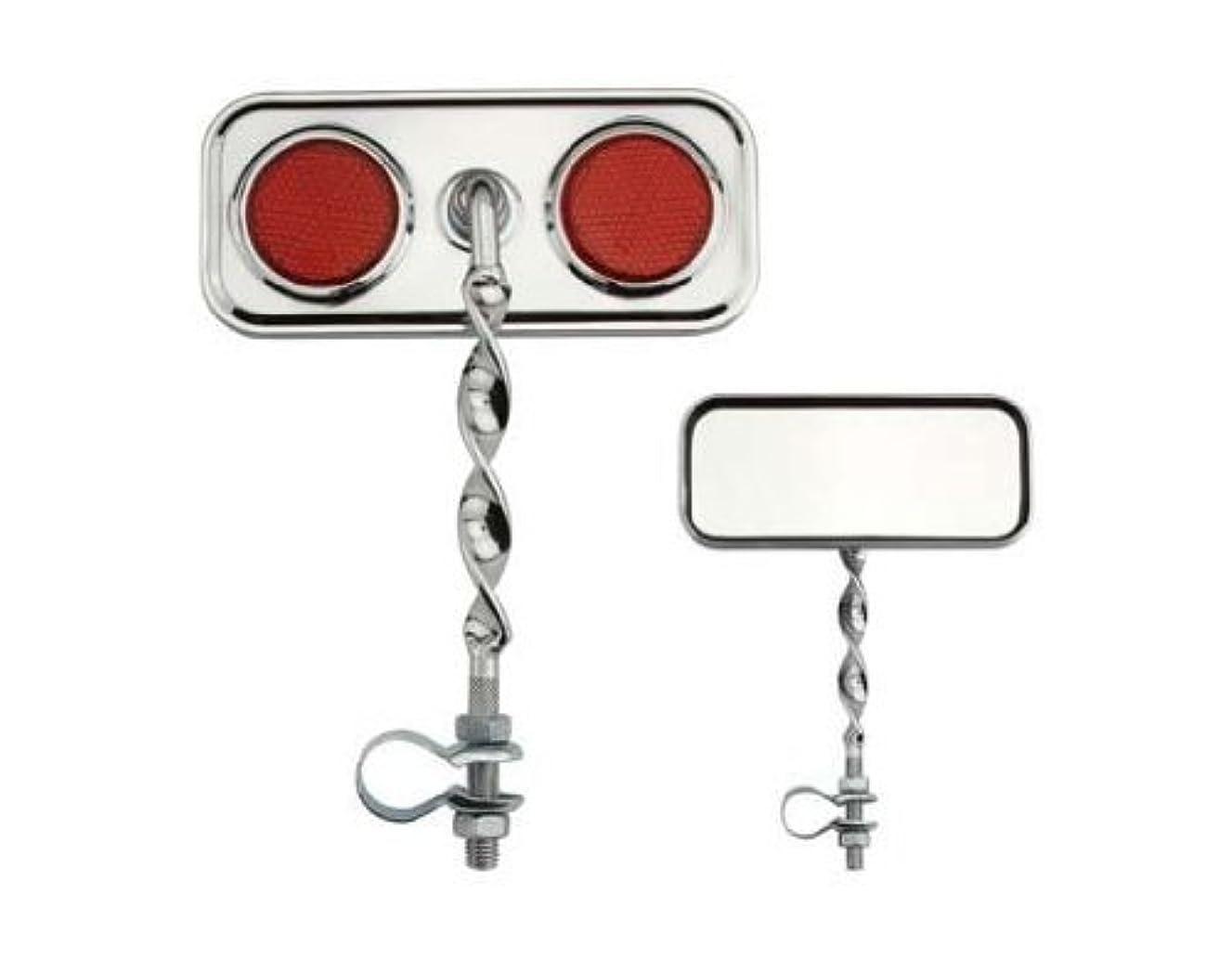サーフィン音節裁量Rectangle Flat Twisted Mirror Red Reflectors. Bike mirror, bicycle mirror for lowrider , beach cruiser, chopper, limo, stretch bike, bmx, track, fixie, mountain bikes by Lowrider