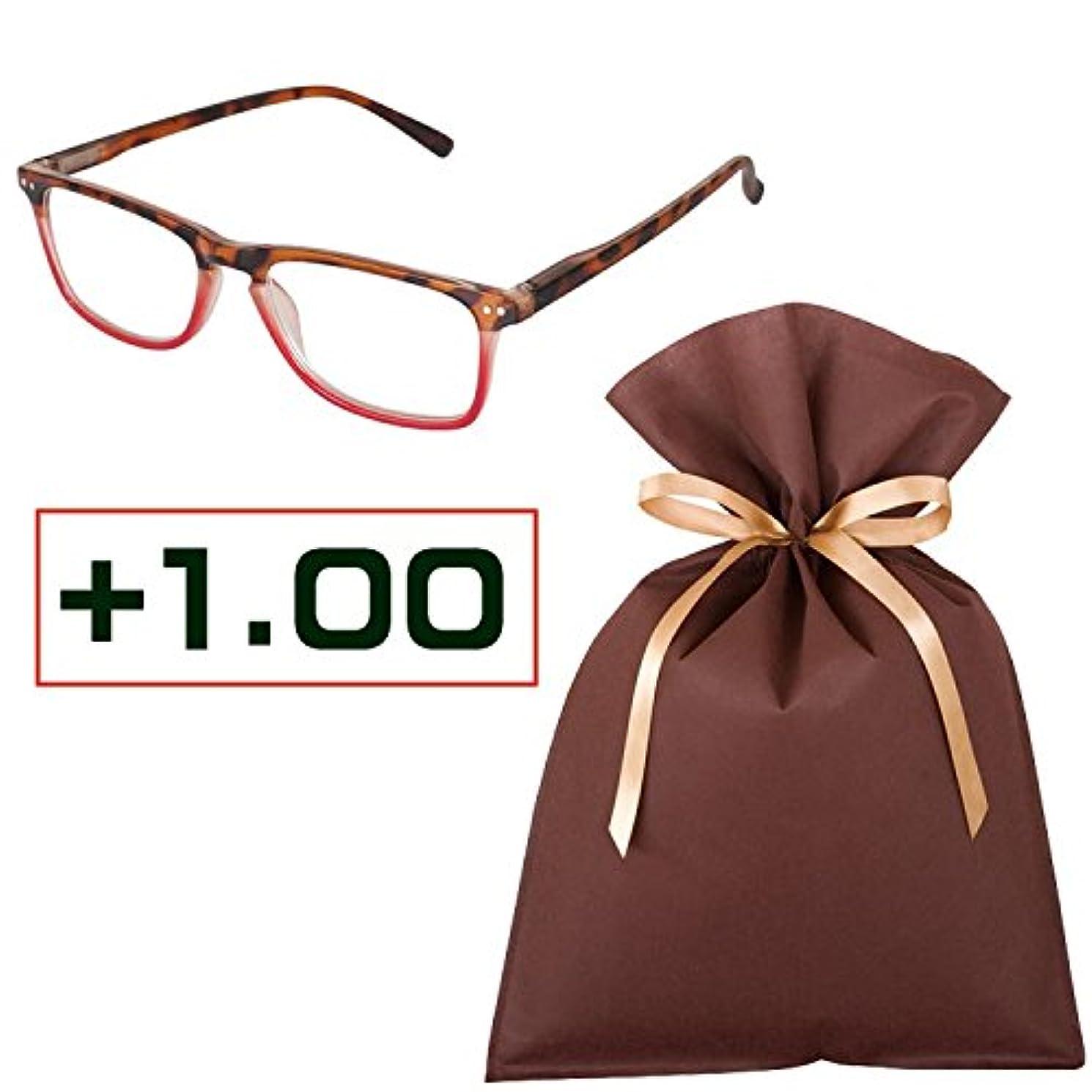老眼鏡ギフトセット(+1.00)READING GLASSES RED_TORTOISE 1.0