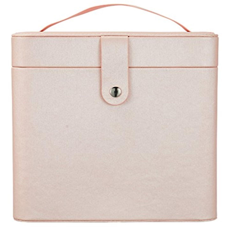 密接に学部長時代遅れ化粧オーガナイザーバッグ 裸のピンクのポータブル化粧品バッグ、美容メイクアップ用の小さなものの種類の旅行のための化粧鏡 化粧品ケース