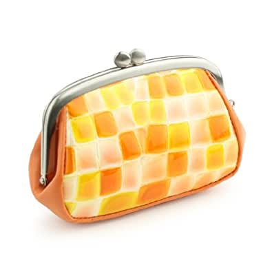 [サクラ] SACURA 日本製 エナメル牛革 親子がま口財布 「MYSTICA」 オレンジ