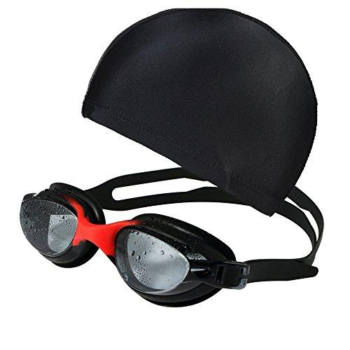 Gliston 水泳 ゴーグル スイミング メガネ くもり止め UVカット ミラー クリア 調節可能 大人用 水泳キャップ付き