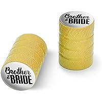 オートバイ自転車バイクタイヤリムホイールアルミバルブステムキャップ - イエロー花嫁の結婚式の兄弟