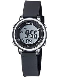ブラックデジタル腕時計、カジュアルスポーツマルチ関数withアラーム、ストップウォッチ防水Montic Watch