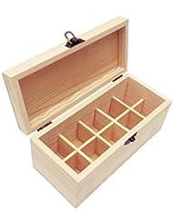 エッセンシャルオイル収納ケース 精油収納ボックス 木製 10本入り 取り外し可能 多機能収納ボックス 30mlの精油ボルトに対応 junexi