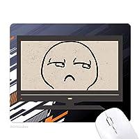 斜視のバクの口の黒い絵文字 ノンスリップラバーマウスパッドはコンピュータゲームのオフィス