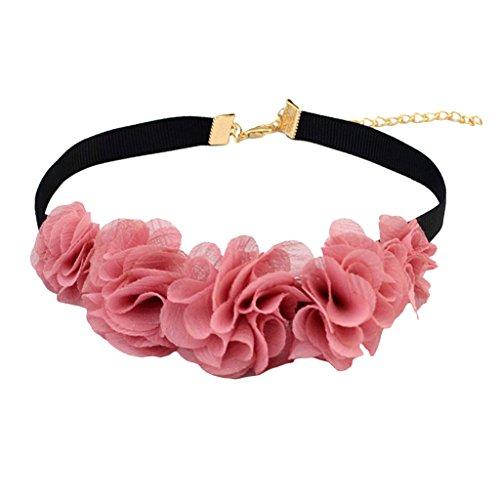 [해외]노 명품 빈티지 블랙 벨벳 코드 핑크 꽃 초커 목걸이 목걸이/No Brand Item Vintage Black Bell Bed Code Pink Flower Choker Collar Necklace