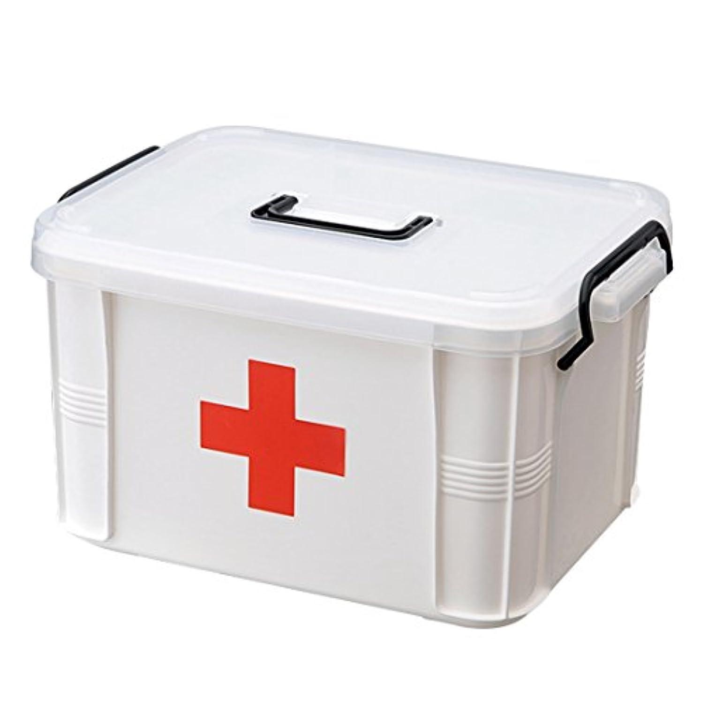 準備した日記校長(Enerhu)救急箱 薬箱 大容量 収納ボックス 赤十字 救急 小物入れ 道具箱 応急処置 収納 ボックス ケース (33.5*24*17.7cm, レッド)