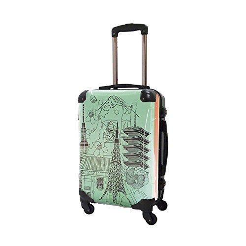 【特別限定品】アートスーツケース|フレーム4輪|機内持込|TOKYO|グリーン×オレンジ|ポップニズムシティ|キャラート