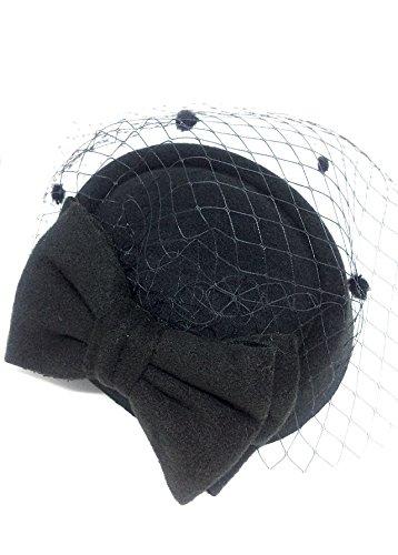 ヘッドドレス ウェディングハット 帽子 レディース チュール付 髪飾り(ブラック)