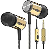 Betron AX1 Noise Isolating Earphones Headphones with Microphone Bass Driven in Ear Earbuds (Black Gold)