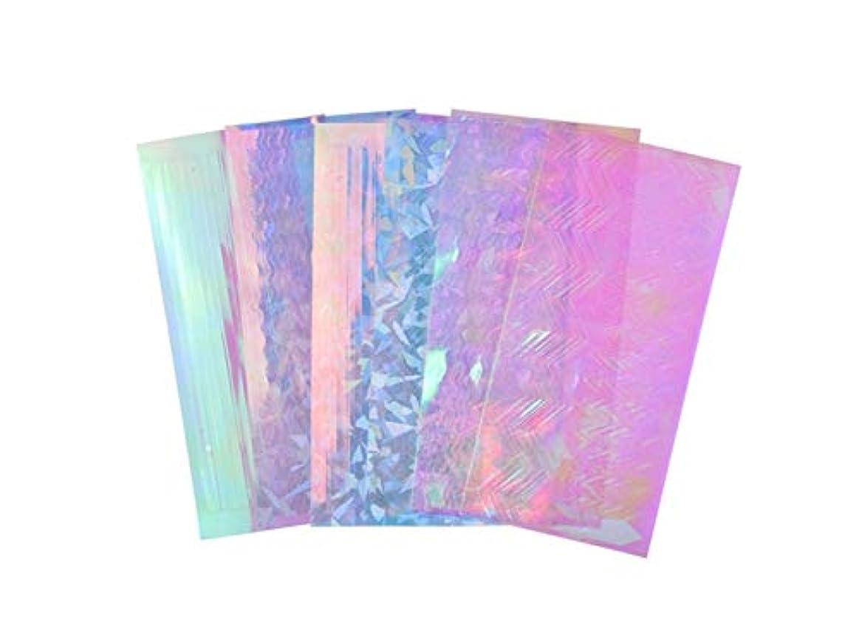 困惑したピンク汚いOsize 6個/セットネイルアートフォイルステッカーホログラフィックグラデーション星空のスカイジオメトリフラワーマニキュア転送デカール