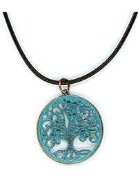 メンズ銅トーンターコイズブルーPatina Tree of Lifeペンダントネックレス17 – 19.5インチブラウンコード
