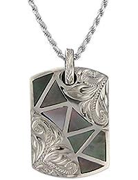 [ハワイアン シルバー ジュエリー] Hawaiian Silver Jewelry グレー マザーオブパール × タグ型プレート ネックレス ロジウム加工 シルバー925 [インポート]