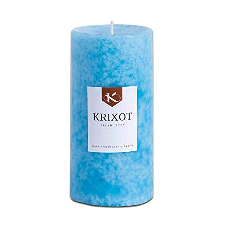 患者無一文むしゃむしゃScented Pillar Candle in Fresh Linen Fragrance、6インチ× 3インチ