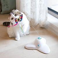 xumeili電動回転バタフライCat Toys 2つ点滅インタラクティブ猫ティーザートイ Big グリーン Xumeili