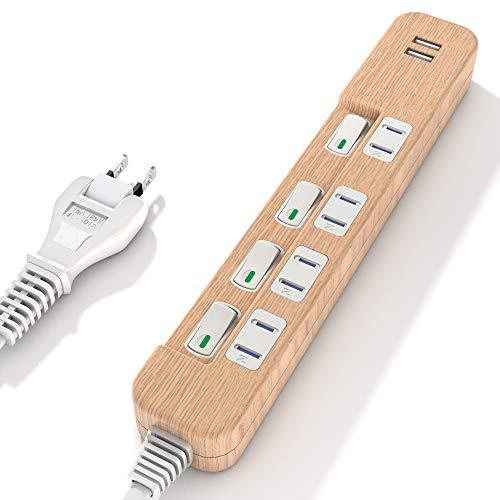 『SAYBOUR 電源タップ USB コンセント省エネ 個別スイッチ 延長コード 3.4A 急速充電 (1m, 木目調)』のトップ画像