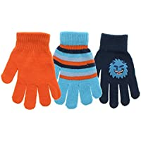 Kid's Cute Striped Warm Winter Mittens Magic Stretch Knit Cold Weather Outdoor Gloves Assorted Multi Pack