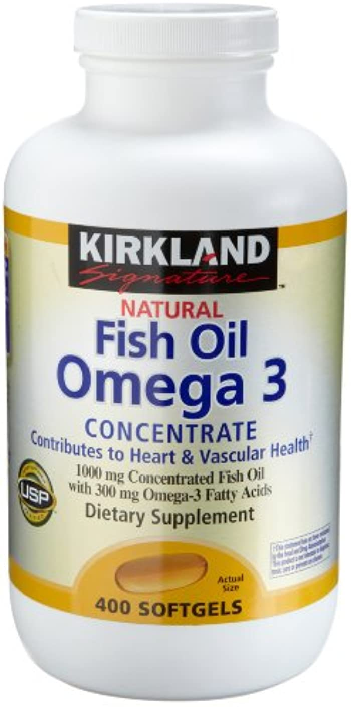 蒸留怒るシンポジウムKirkland Natural Fish Oil Omega 3 Concentrate, 400-Count Softgels by Kirkland Signature