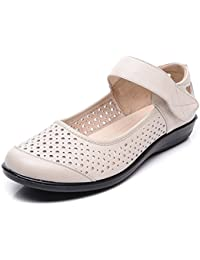 高齢者の女性の靴のための夏の滑り止めソフトボトムサンダルフラットボトムのフラット古いレディースレザーシューズ中年のママの靴 (色 : オフホワイト, サイズ さいず : 38)