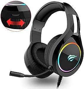 HAVIT ゲーミングヘッドセット 高音質 ヘッドセット 軽量 ヘッドホン 50mm大口径 ヘッドフォン 密閉型 騒音 抑制 マイク付き 伸縮可能 男女兼用 有線 3.5mm ゲーム用 ps4用 Xbox One/PC用/ノートパソコン/スマホ/タブレッなどに対応(H2011d-RGB)