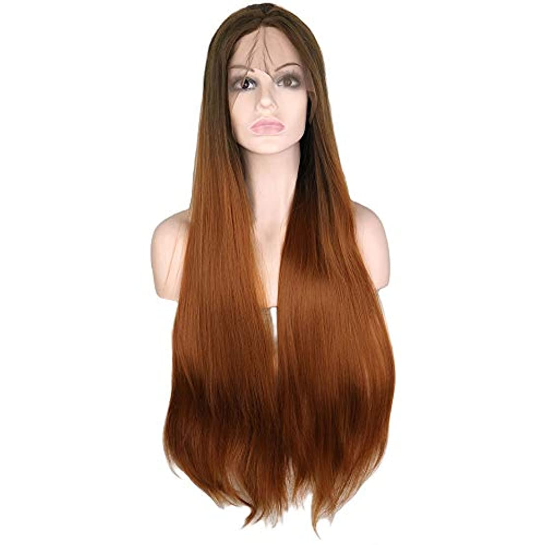 殉教者フライトグリットウィッグ つけ毛 30インチレースフロントウィッグオンブルブラウンロングストレートウィッグミドルパートコスプレコスチュームデイリーパーティーウィッグ本物の髪を持つ女性 (色 : Ombre Brown, サイズ : 30