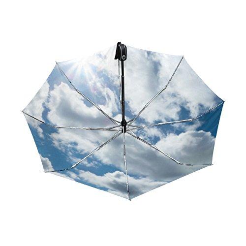 マキク(MAKIKU) 折り畳み傘 自動開閉 軽量 ワンタッチ 日傘 晴雨兼用 uvカット 紫外線対策 頑丈な8本骨 耐風 撥水 グラスファイバー 収納ケース付 青い 空 雲柄 ホワイト