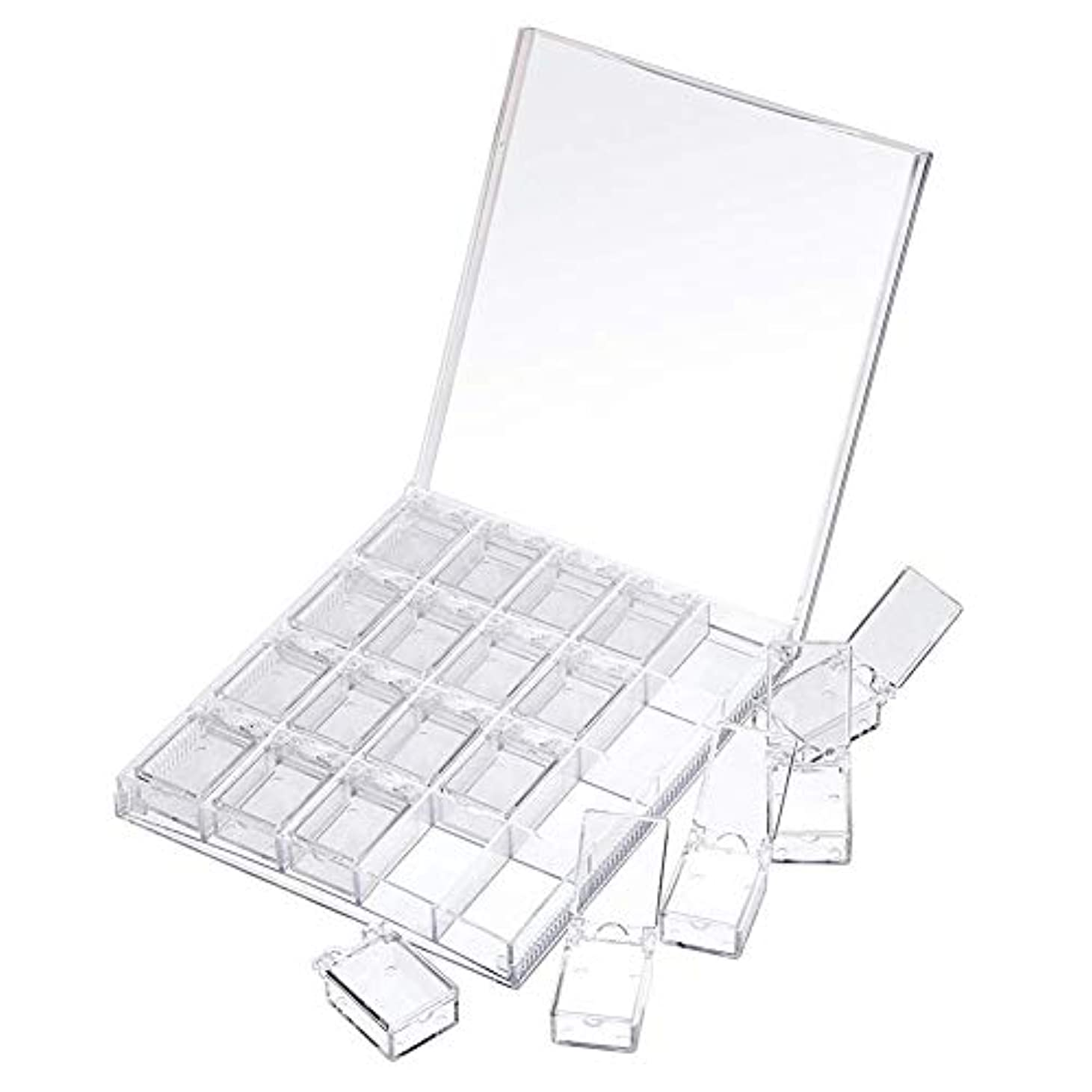 かんたんパーティション束ねるMOOJOO ネイルケース ネイル 収納 ボックス 小分け 20セクション 透明