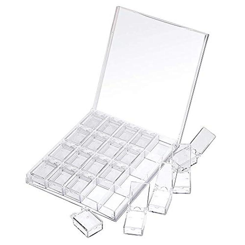 上闘争ゆでるMOOJOO ネイルケース ネイル 収納 ボックス 小分け 20セクション 透明