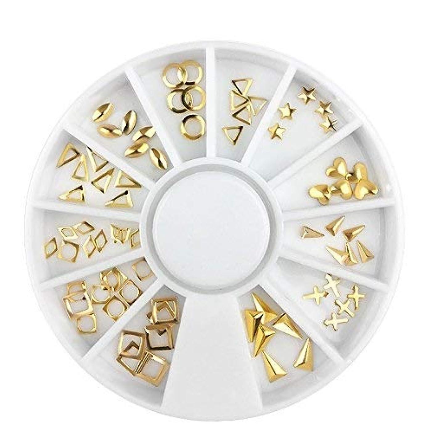 熟すペフ穿孔するHAPPY HOME ゴールドリベットマルチ型デザイン合金装飾ネイルアートシリンダーデザインスタッド3dラインストーンアクセサリーホイール