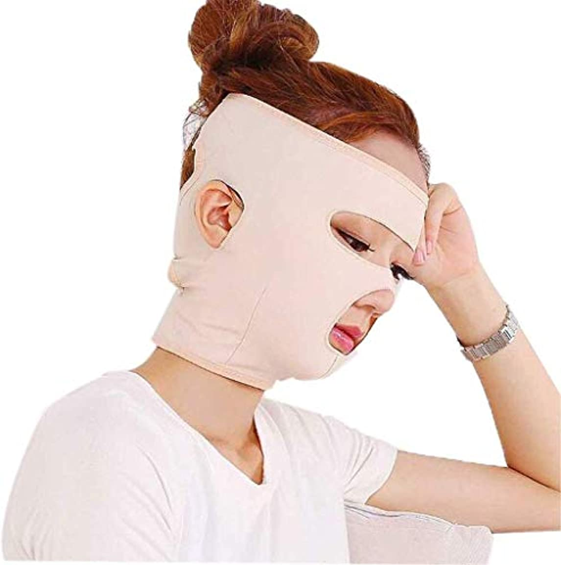 銛ブレスクリップ美しさと実用的なフルフェイスタイプ通気性ライン、彫刻後、顔の包帯、薄いVフェイスマスク、リフティングファーミング、ロー、パターンアーティファクト(サイズ:M)