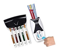 自動歯磨き粉スクイーザ、壁掛け式子供用非接触式歯磨き粉ディスペンサー、歯磨き粉スクイーザ、5個のブラシ収納装置付き