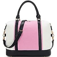 BLUBOON Weekender Overnight Bag Travel Women Ladies Canvas Duffle Tote Bags PU Trim