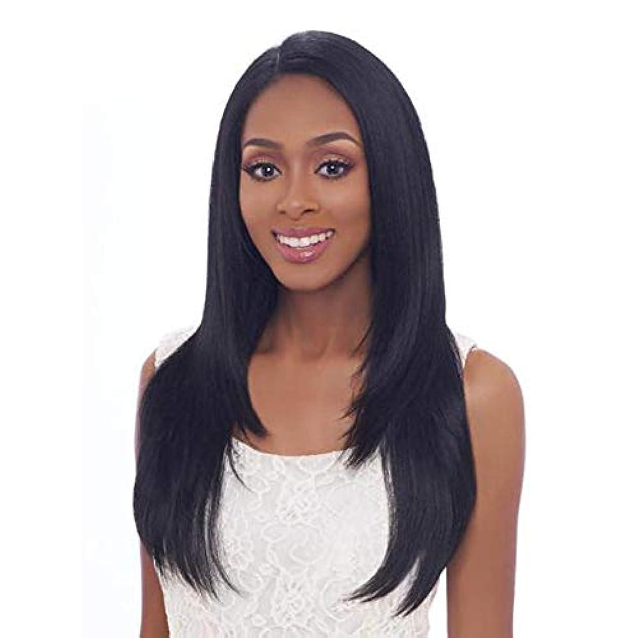 純粋な黄ばむオール黒の長いストレートヘアウィッグファッションナチュラルウィッグ24インチ