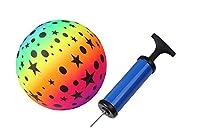 カラーボール カラフル 空気入れ 付 17cm ビーチボール ゴムボール ナイトプール 海 (スター)