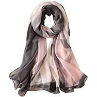 GERINLY Oversize Silk Feel Scarf Pastel Soft Shawls and Wrap for Chilly Evening