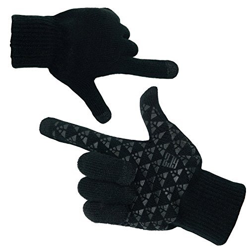 Gouler 手袋 メンズ スマホ 対応 ボーイズ グローブ 裏起毛 ハンドウォーマー 滑り止め 防寒 クリスマスプレゼント 通勤 通学 (ブラック)