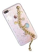 (タコストア) taco store iPhone カバー チェーン 付きで 外出 に 便利 貝殻 と グリッター な 星 の 煌き が キュート 6/6s クリア
