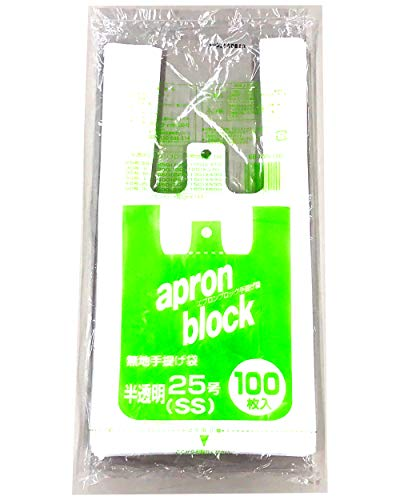 オルディ エプロンブロック 無地手提げ袋 25号 半透明 SSサイズ(100枚入)