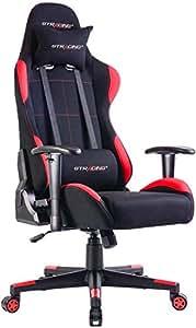 GTRACING ゲーミングチェア オフィスチェア リクライニング 多機能 パソコンチェア 事務椅子 ゲーム用チェア ヘッドレスト 腰痛対策 ランバーサポート ひじ掛け付き (GTBEE-RED)『一年無償部品交換保証』
